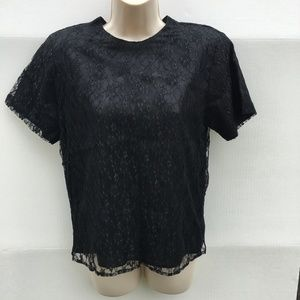 vintage black lace top womens small